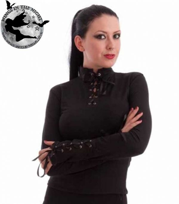 NECESSARY EVIL Milisha Laced Gothic Long Sleeve Top